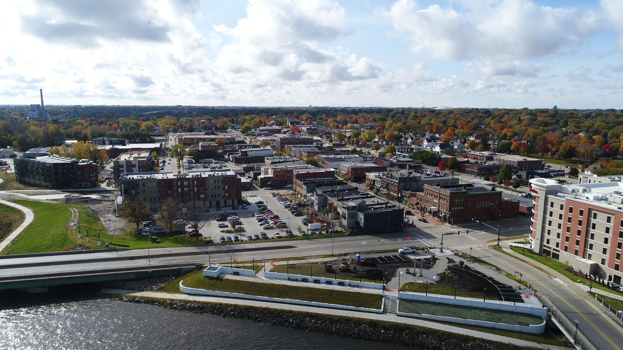 Cedar Falls Downtown Aerial View