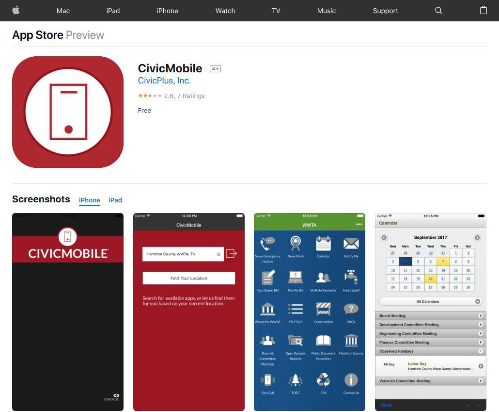 CivicMobile App Store screen