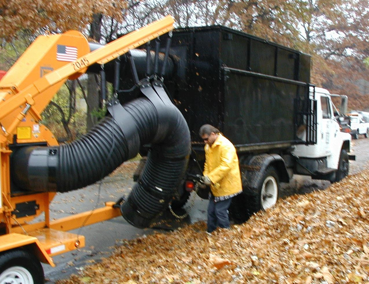 Leaf Vacuum Service at someone's curb