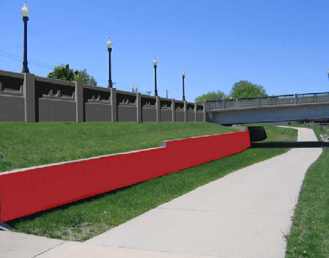 lower wall segment plan located in Peter Melendy Park